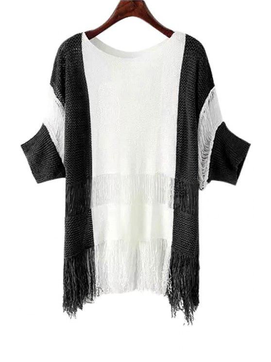 unique Scoop Neck Color Block Fringe Sweater - BLACK ONE SIZE(FIT SIZE XS TO M)