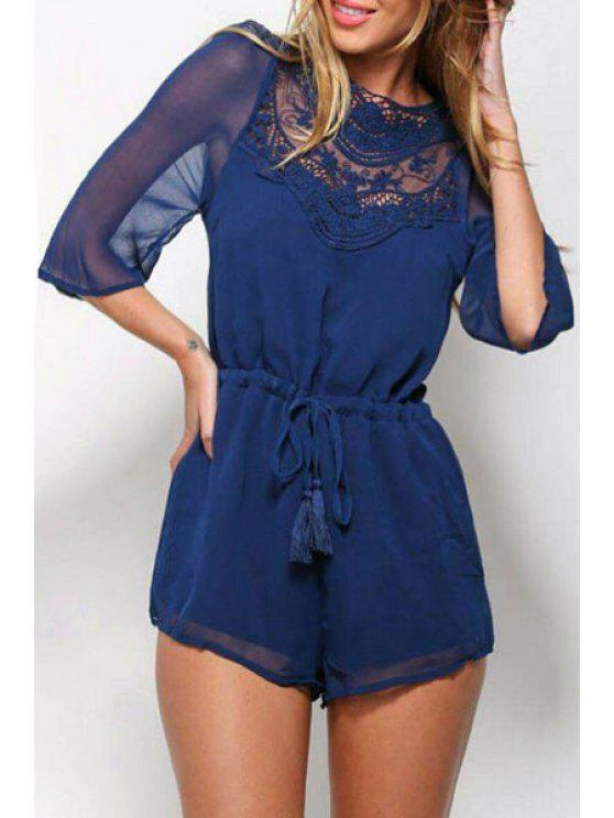 fancy Lace Spliced Solid Color Backless Playsuit - DEEP BLUE S