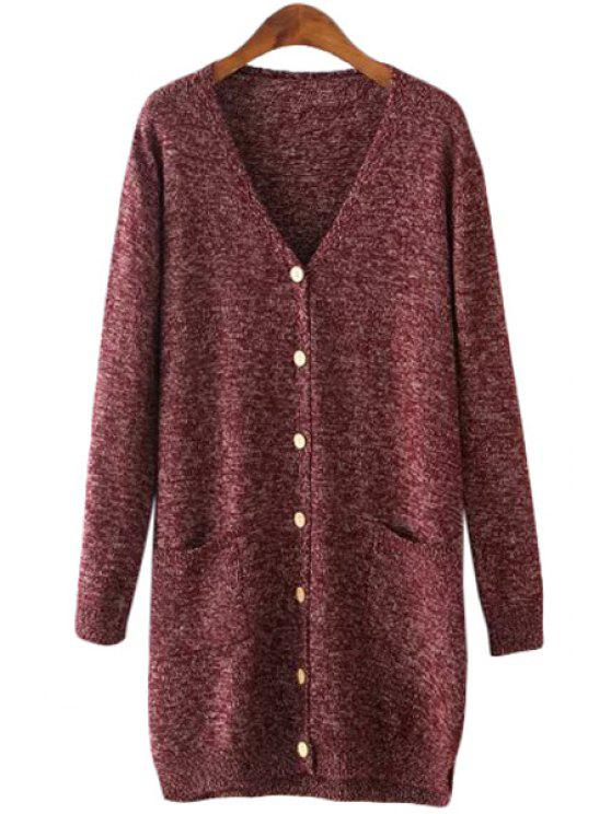 shops Solid Color Long Sleeve V Neck Cardigan - WINE RED ONE SIZE(FIT SIZE XS TO M)