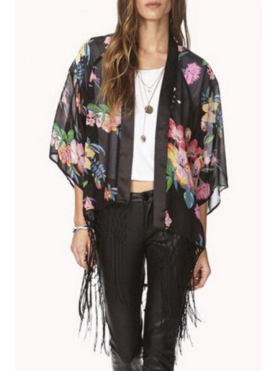 womens Floral Print Tassels Spliced Asymmetrical Blouse - BLACK S