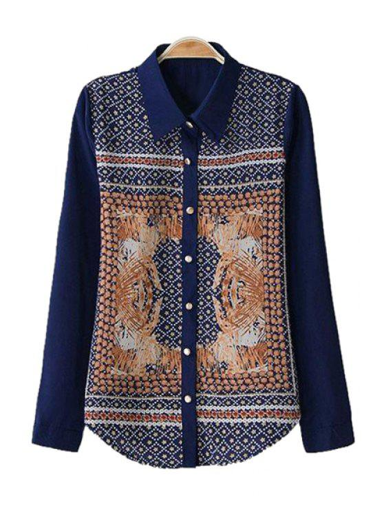 chic Star Polka Print Long Sleeve Shirt - PURPLISH BLUE S