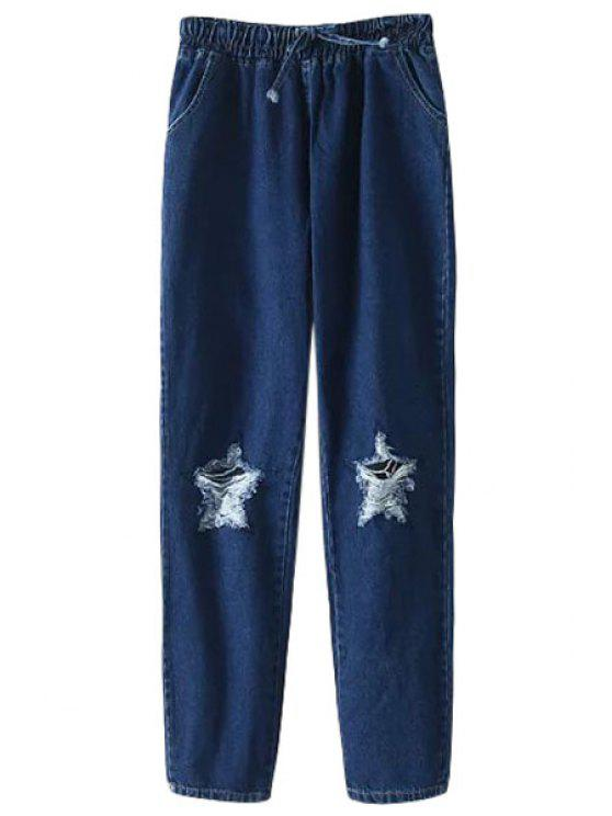 shop Star Pattern Elastic Waist Drawstring Jeans - DEEP BLUE ONE SIZE(FIT SIZE XS TO M)
