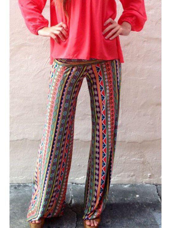 fashion Ethnic Pattern Stripes Wide Leg Pants - COLORMIX S