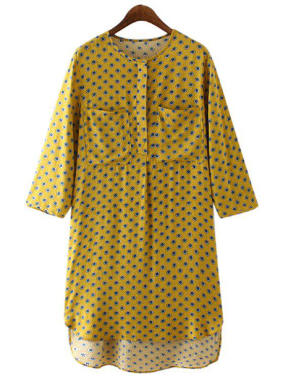 latest Tiny Floral Print High Low 3/4 Sleeve Dress - YELLOW S