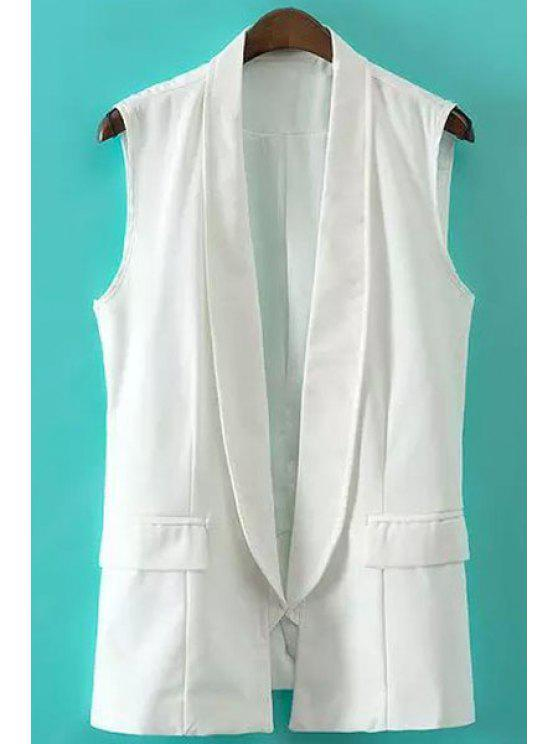hot Solid Color Shawl Collar Waistcoat - WHITE M