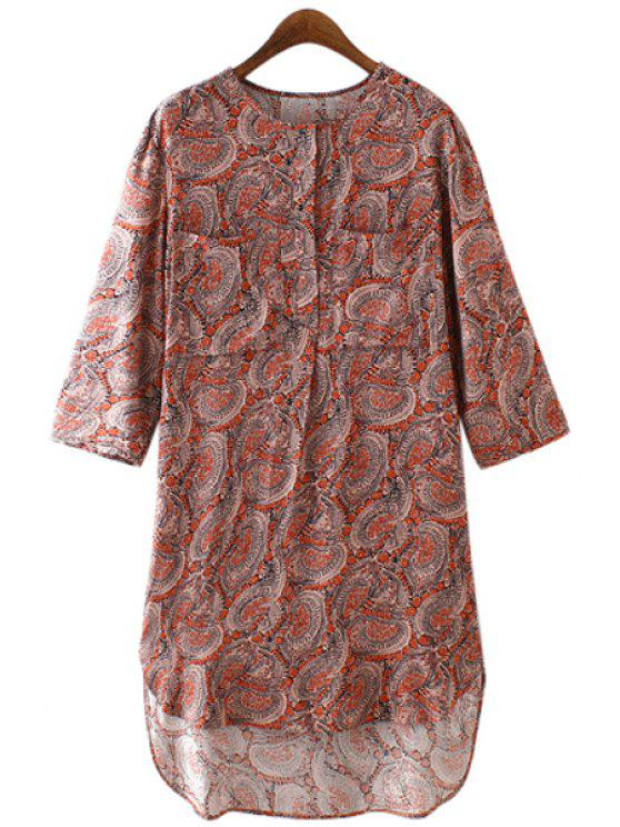 women's Tiny Floral Print Buttons Fly 3/4 Sleeve Dress - AS THE PICTURE S