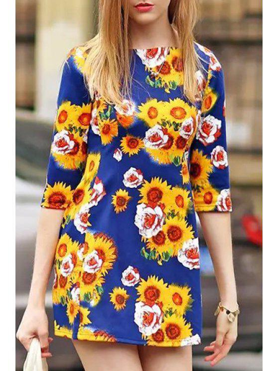 online Sunflower Print 3/4 Sleeve Dress - BLUE S