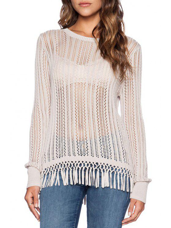 shops Hollow Out Tassels White Sweater - WHITE ONE SIZE(FIT SIZE XS TO M)