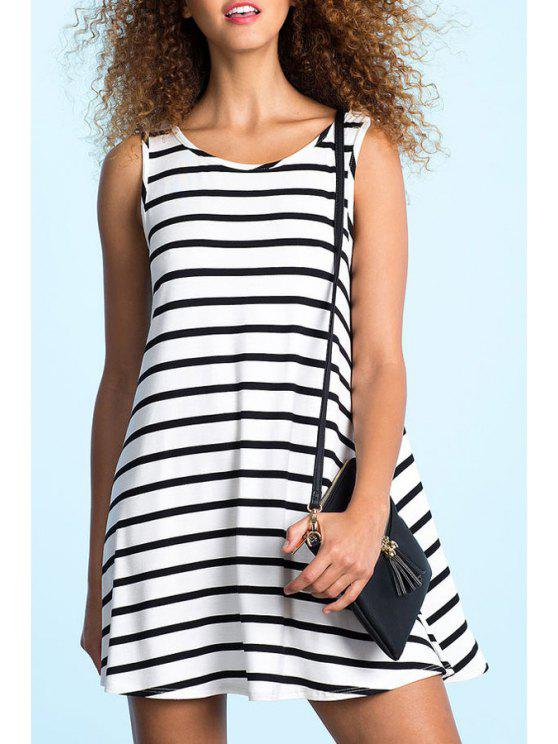 fancy White Black Sleeveless Backless Striped Dress - WHITE AND BLACK S