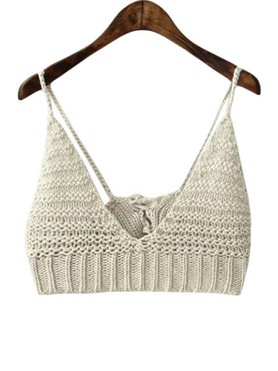 chic Solid Color Spaghetti Strap Crochet Crop Top - OFF-WHITE ONE SIZE(FIT SIZE XS TO M)