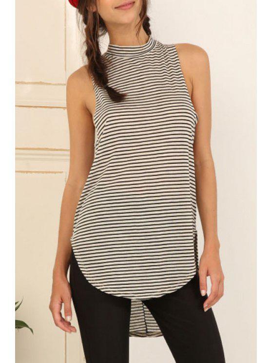 shop White Black Sleeveless Striped High Low Tank Top - STRIPE S