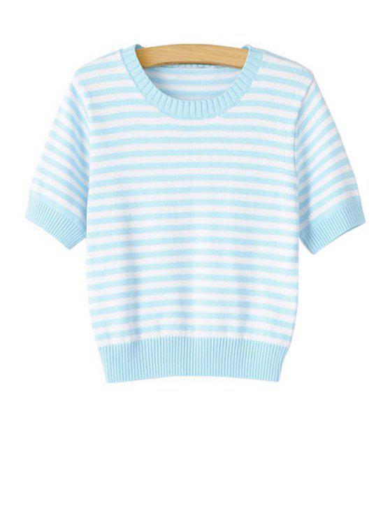 lady Striped Short Sleeve Sweater - LIGHT BLUE S