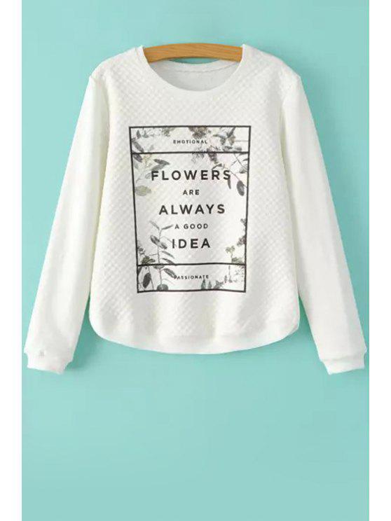 latest Leaves Letter Print Long Sleeve Sweatshirt - WHITE S