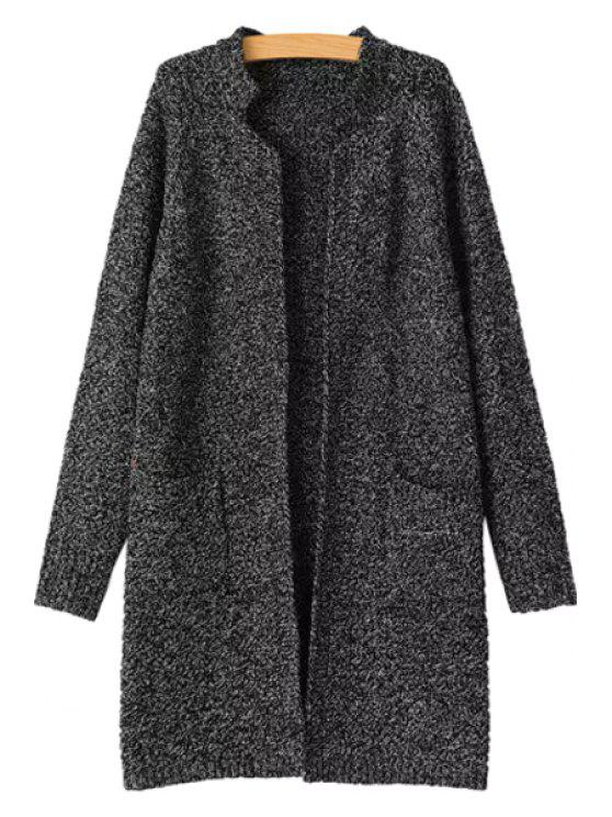 shops Stand-Up Collar Jag Pocket Long Sleeve Cardigan - BLACK ONE SIZE(FIT SIZE XS TO M)