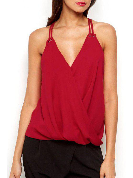 trendy Red Spaghetti Strap V Neck Cami Top - RED S