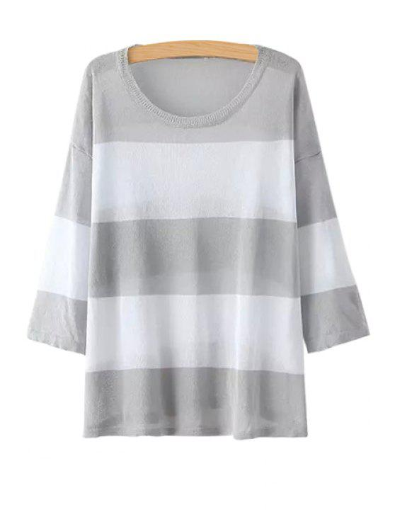 affordable Color Block Stripe 3/4 Sleeve Sweater - GRAY ONE SIZE(FIT SIZE XS TO M)
