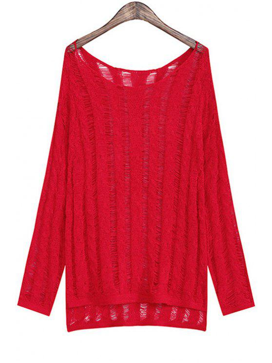 ladies Solid Color High Low Long Sleeve Sweater - RED ONE SIZE(FIT SIZE XS TO M)