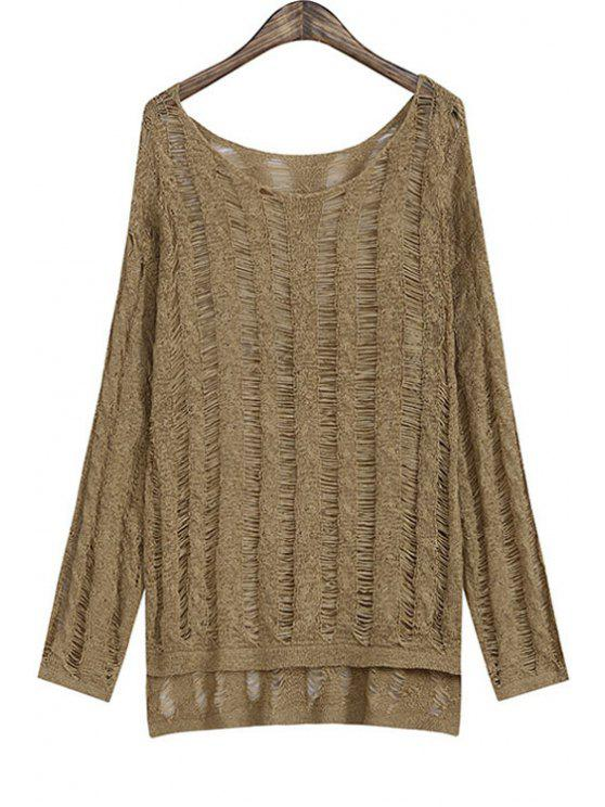 online Solid Color High Low Long Sleeve Sweater - KHAKI ONE SIZE(FIT SIZE XS TO M)