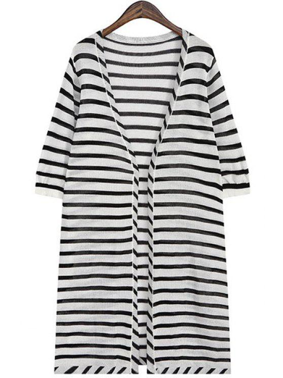 outfit V-Neck Stripes Half Sleeve Cardigan - WHITE ONE SIZE(FIT SIZE XS TO M)