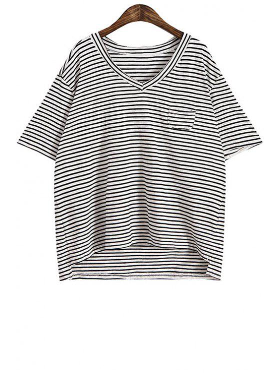 women V-Neck Stripe Pocket Short Sleeve T-Shirt - BLACK ONE SIZE(FIT SIZE XS TO M)