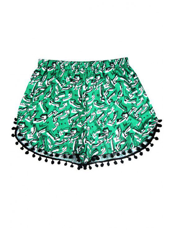 sale Tiny Floral Print Laciness Shorts - GREEN S
