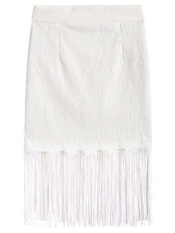 womens Lace Openwork Fringe Skirt - WHITE ONE SIZE(FIT SIZE XS TO M)