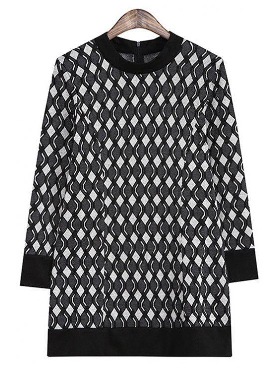 women's Argyle Pattern Back Zipper Long Sleeve Dress - BLACK ONE SIZE(FIT SIZE XS TO M)