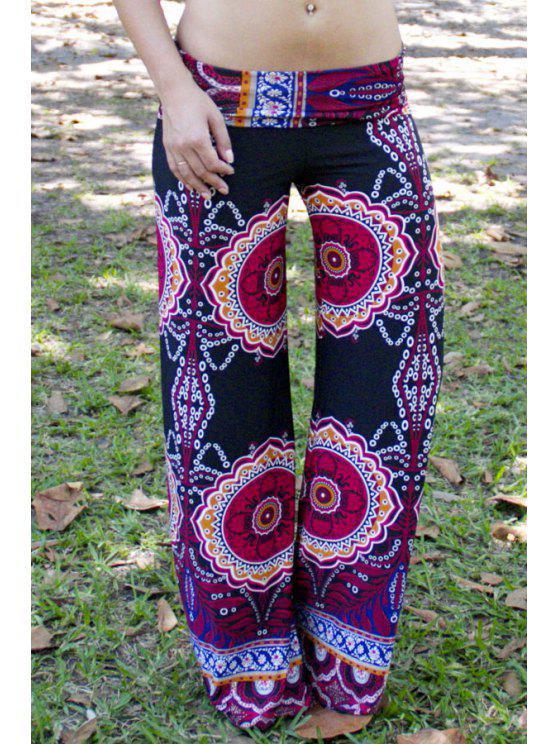 chic Ethnic Pattern Wide Leg Pants - BLACK S