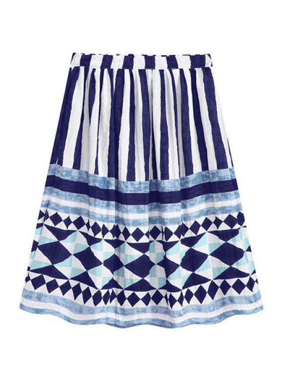 lady Stripe Argyle Print Elastic Waist Skirt - BLUE ONE SIZE(FIT SIZE XS TO M)