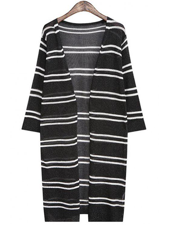 trendy V Neck Stripe Half Sleeve Cardigan - BLACK ONE SIZE(FIT SIZE XS TO M)