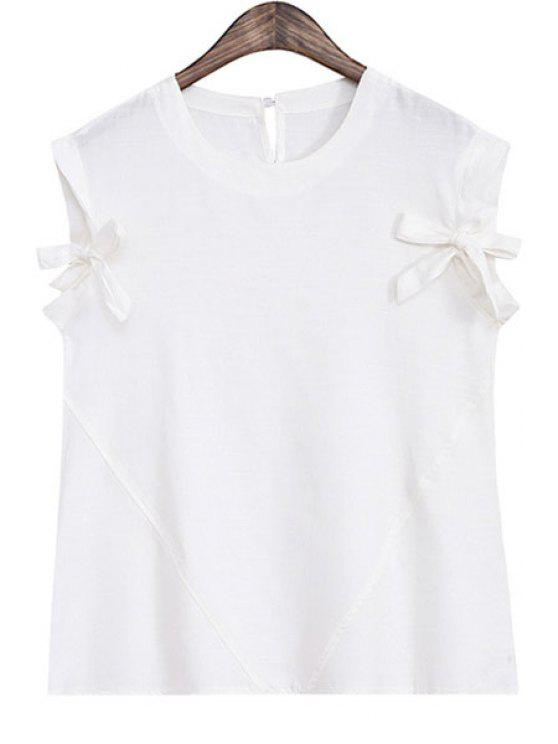 new Bowknot Splicing Sleeveless Tank Top - WHITE ONE SIZE(FIT SIZE XS TO M)