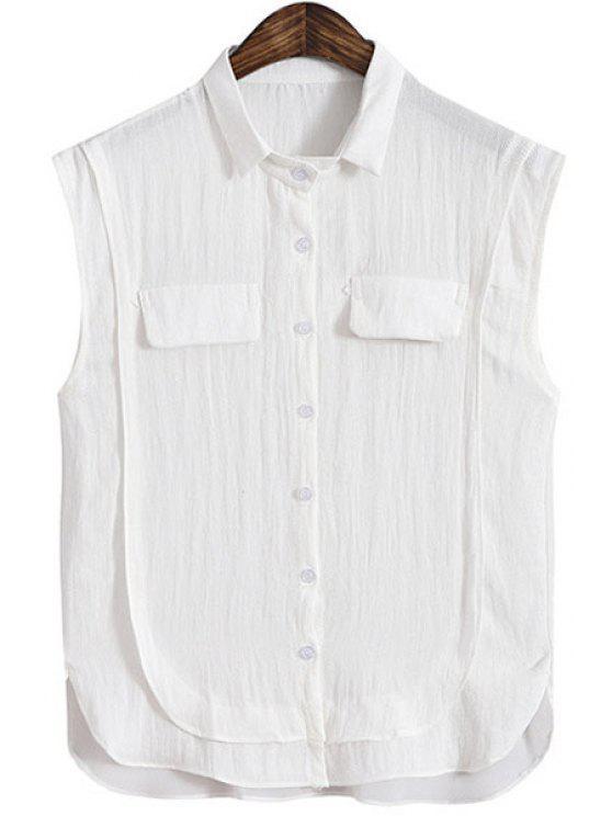 new Turn-Down Collar Chiffon Splicing Sleeveless Shirt - WHITE ONE SIZE(FIT SIZE XS TO M)