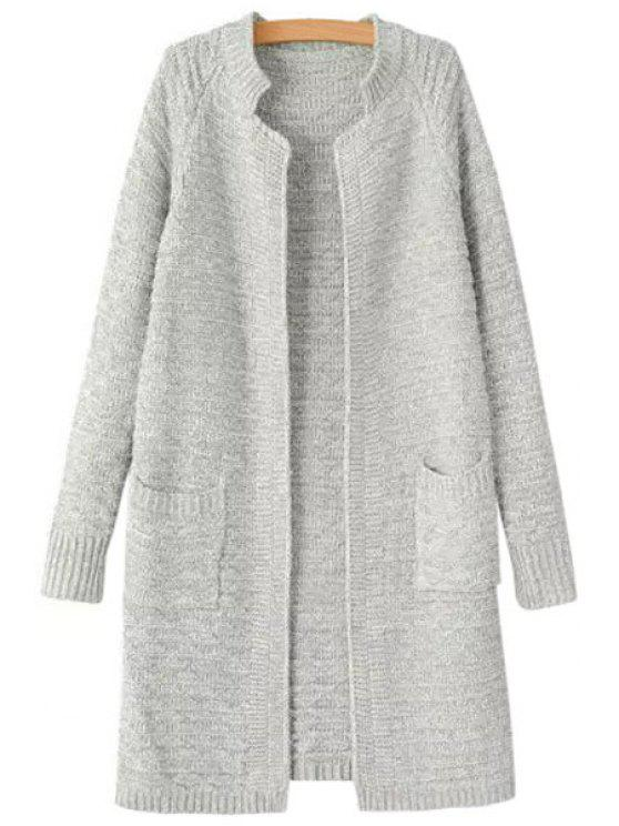 best Solid Color Stand Neck Cardigan - LIGHT GRAY ONE SIZE(FIT SIZE XS TO M)