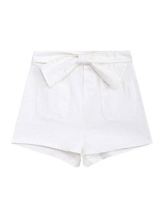 lady Cross Bowknot Side Zipper Shorts - WHITE S