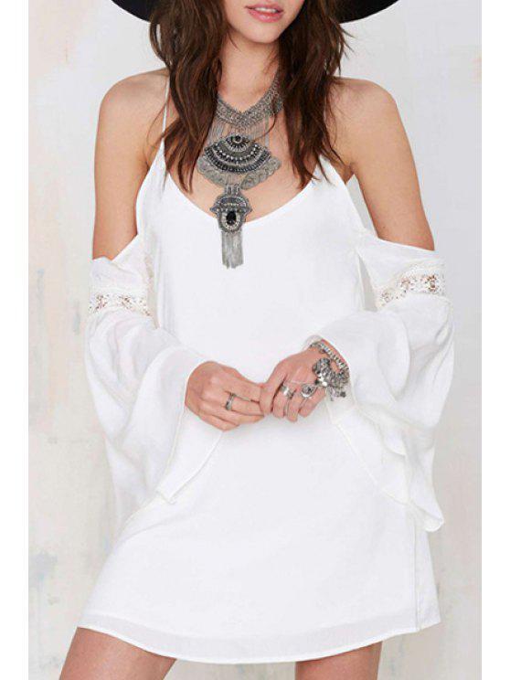 trendy Lace Spliced White Spaghetti Strap Dress - WHITE XL