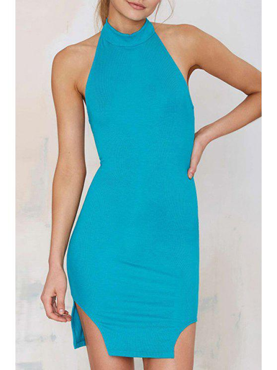 ladies Solid Color Halter Backless Bodycon Dress - LAKE BLUE S