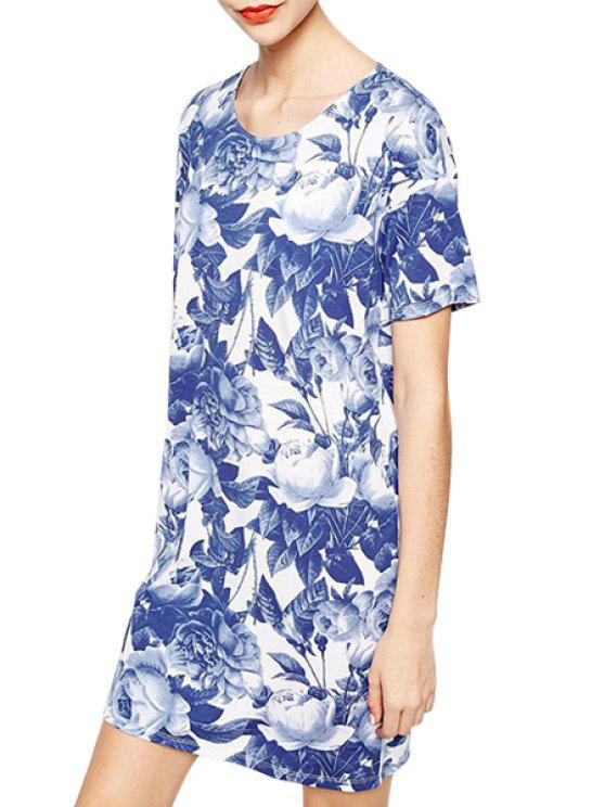 latest Blue Flower Print Short Sleeve Dress - DEEP BLUE S