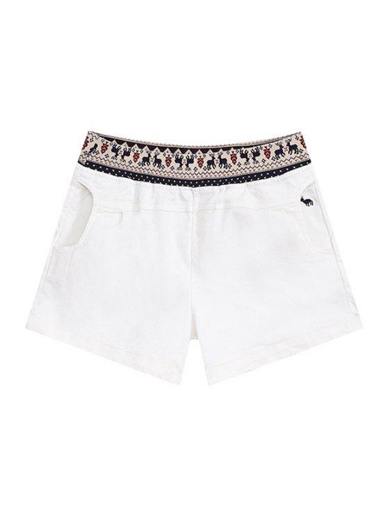 new Elk Pattern Pocket Shorts - WHITE S