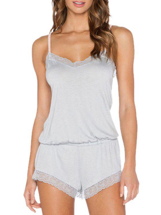 shops Light Gray Spaghetti Straps Playsuit - LIGHT GRAY M