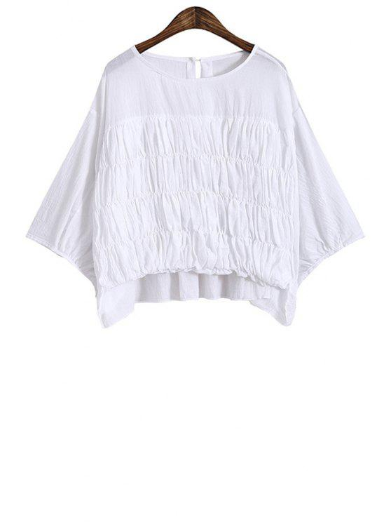 women's Jewel Neck Ruffle High Low T-Shirt - WHITE ONE SIZE(FIT SIZE XS TO M)
