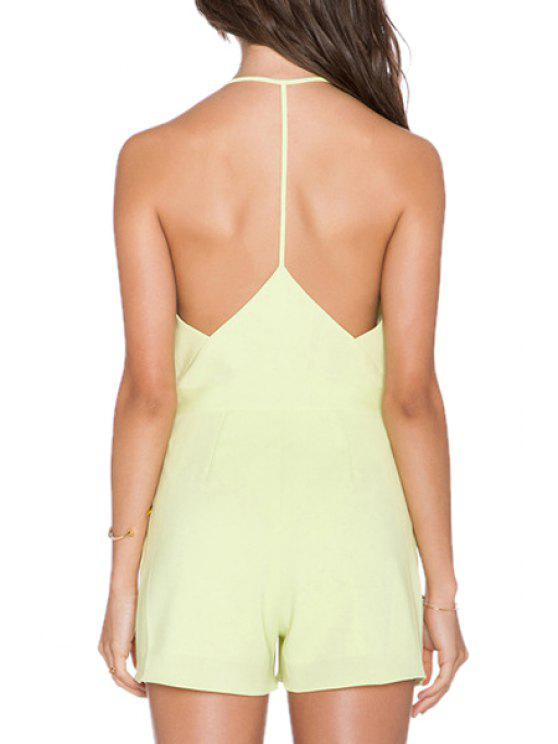 buy Ligh Green Spaghetti Strap Backless Playsuit - LIGHT GREEN S