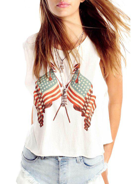 fashion American Flag Print Jewel Neck Tank Top - WHITE S