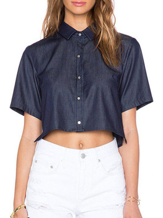 unique Short Sleeve Solid Color Crop Top - DEEP BLUE S