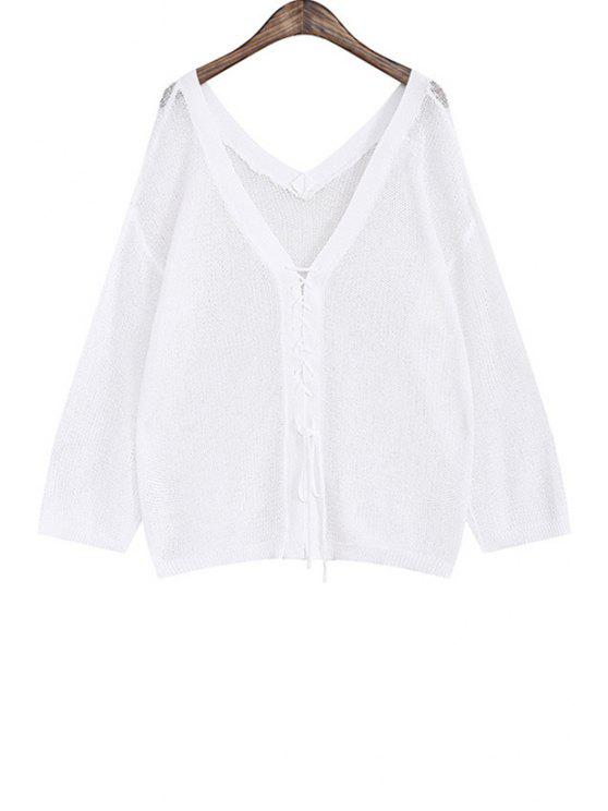 outfits Tie Up Solid Color Long Sleeve Cardigan - WHITE ONE SIZE(FIT SIZE XS TO M)