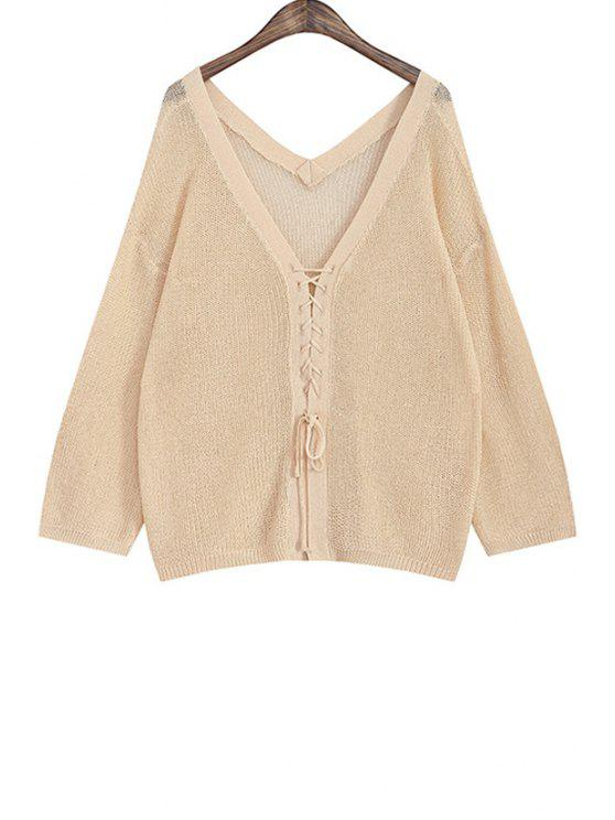 trendy Tie Up Solid Color Long Sleeve Cardigan - APRICOT ONE SIZE(FIT SIZE XS TO M)