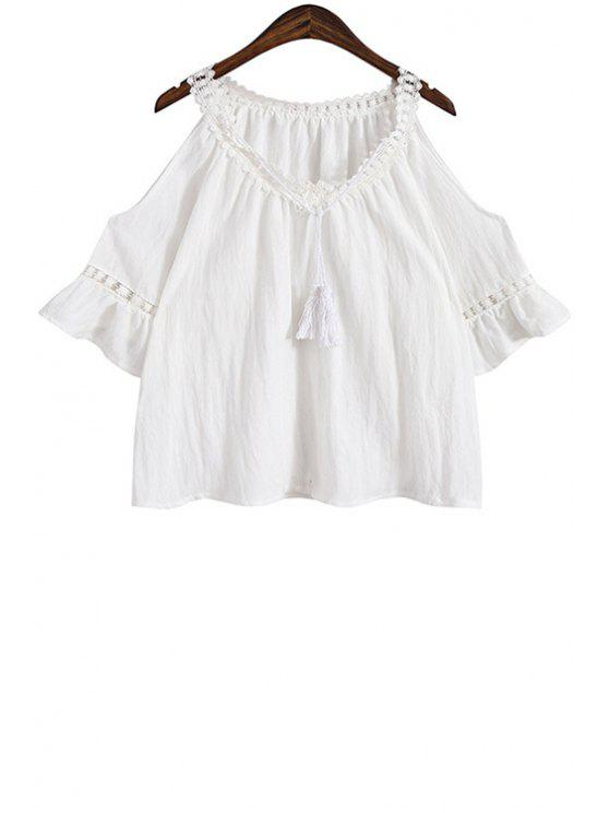 outfit Lace Splicing Tie-Up Short Sleeve Blouse - WHITE ONE SIZE(FIT SIZE XS TO M)