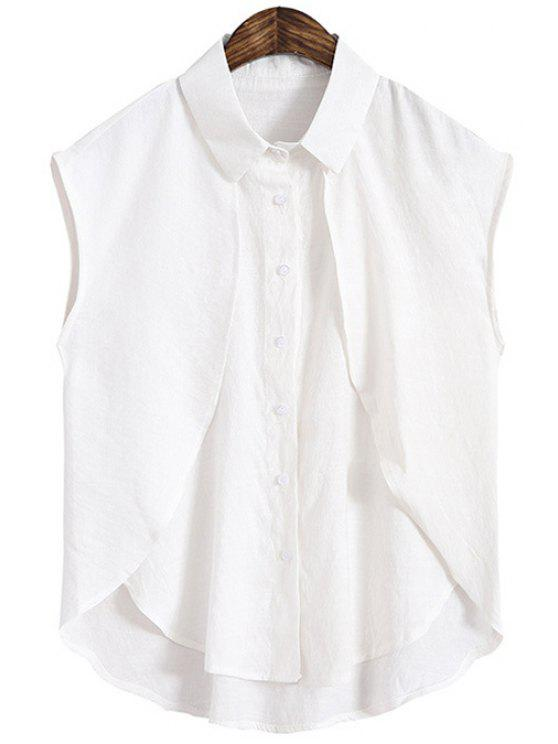 outfits Solid Color High Low Splicing Sleeveless Shirt - WHITE ONE SIZE(FIT SIZE XS TO M)