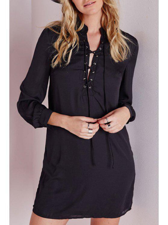 women's Black Stand Neck Long Sleeve Dress - BLACK S