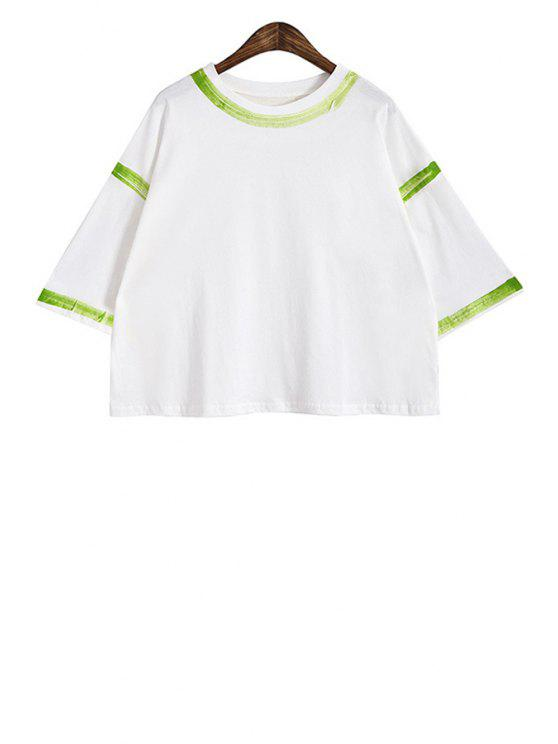 fashion Stripe Print Short Sleeve T-Shirt - GREEN ONE SIZE(FIT SIZE XS TO M)