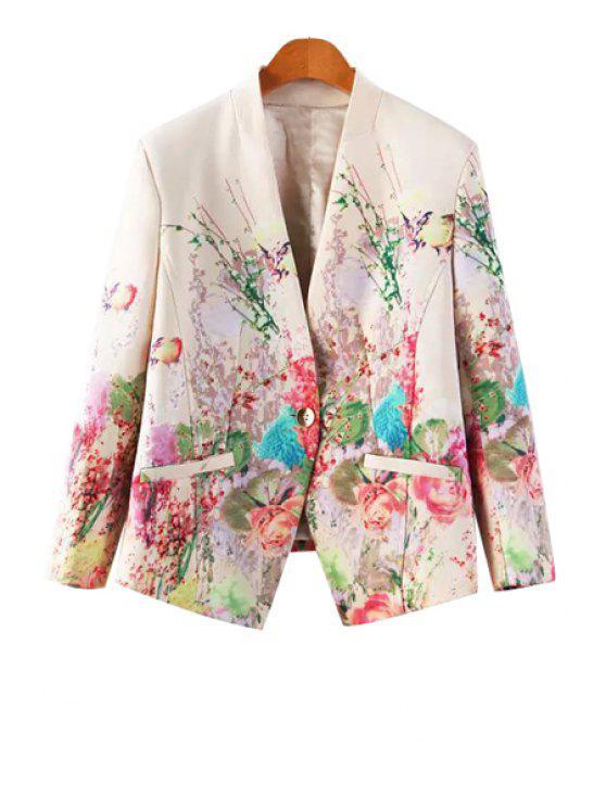 online Floral Print One Button Pocket Design Blazer - WHITE S